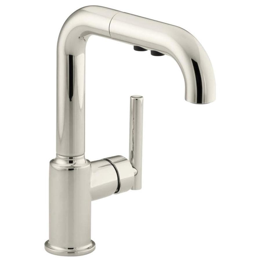 KOHLER Purist Vibrant Polished Nickel 1-Handle Pull-Out Kitchen Faucet