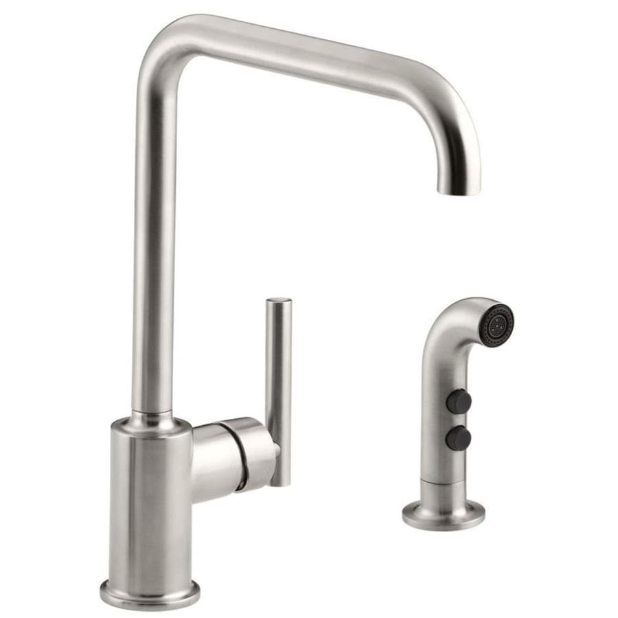 KOHLER Purist Vibrant Stainless 1-Handle High-Arc Kitchen Faucet with Side Spray
