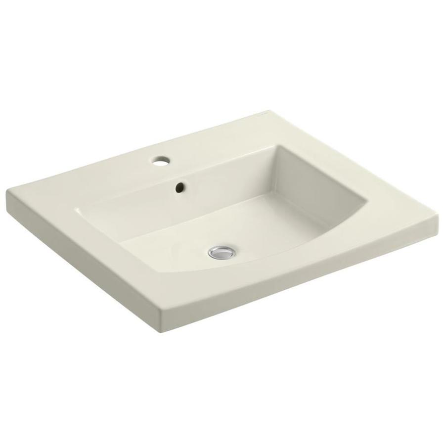 KOHLER Persuade 25.25-in L x 22-in W Biscuit Cast Iron Rectangular Pedestal Sink Top