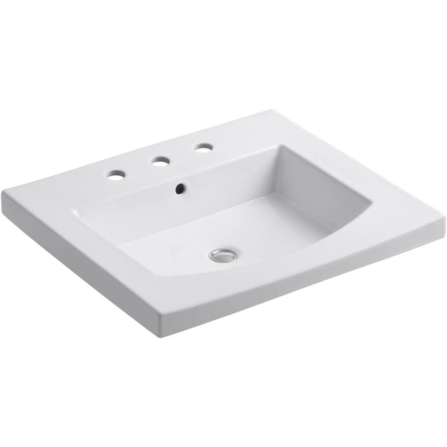 KOHLER Persuade White Drop-in Rectangular Bathroom Sink with Overflow