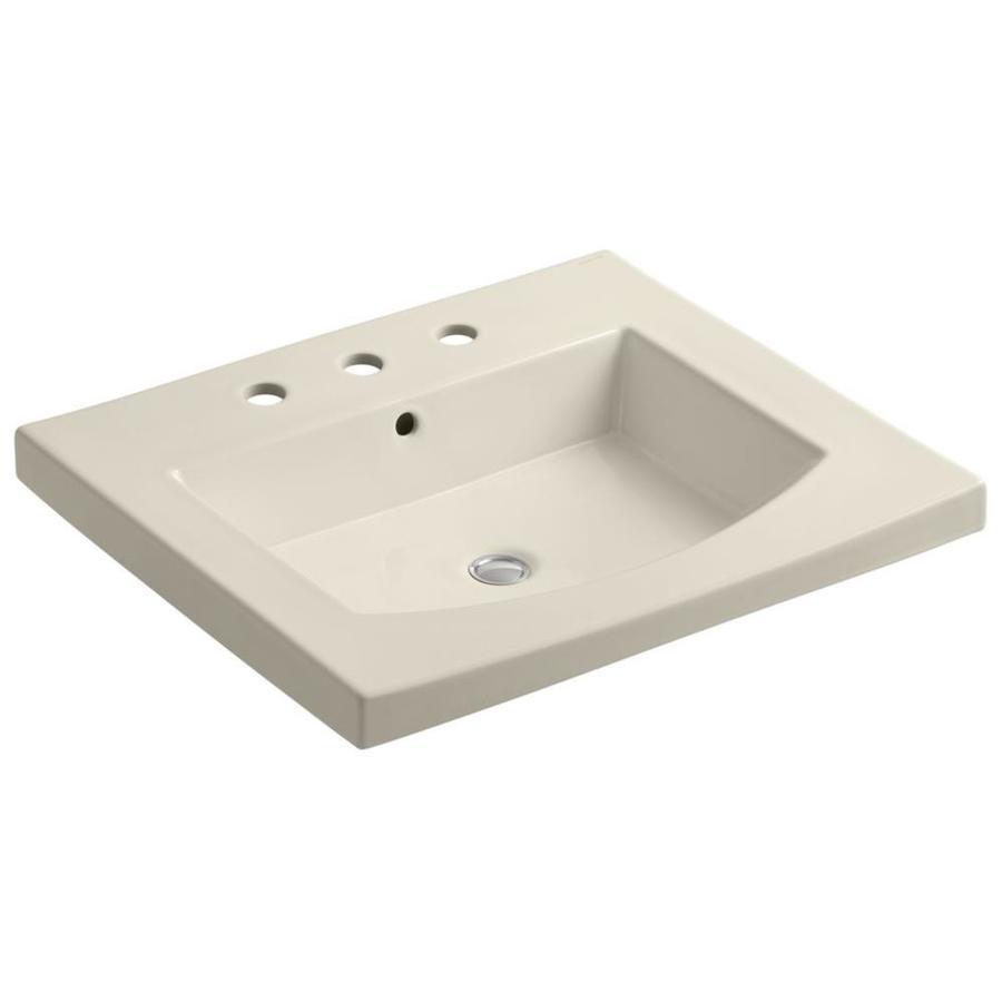 KOHLER Persuade 25.25-in L x 22-in W Almond Cast Iron Rectangular Pedestal Sink Top