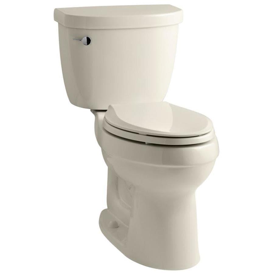 KOHLER Cimarron 1.28 Almond WaterSense Elongated Standard Height 2-Piece Toilet