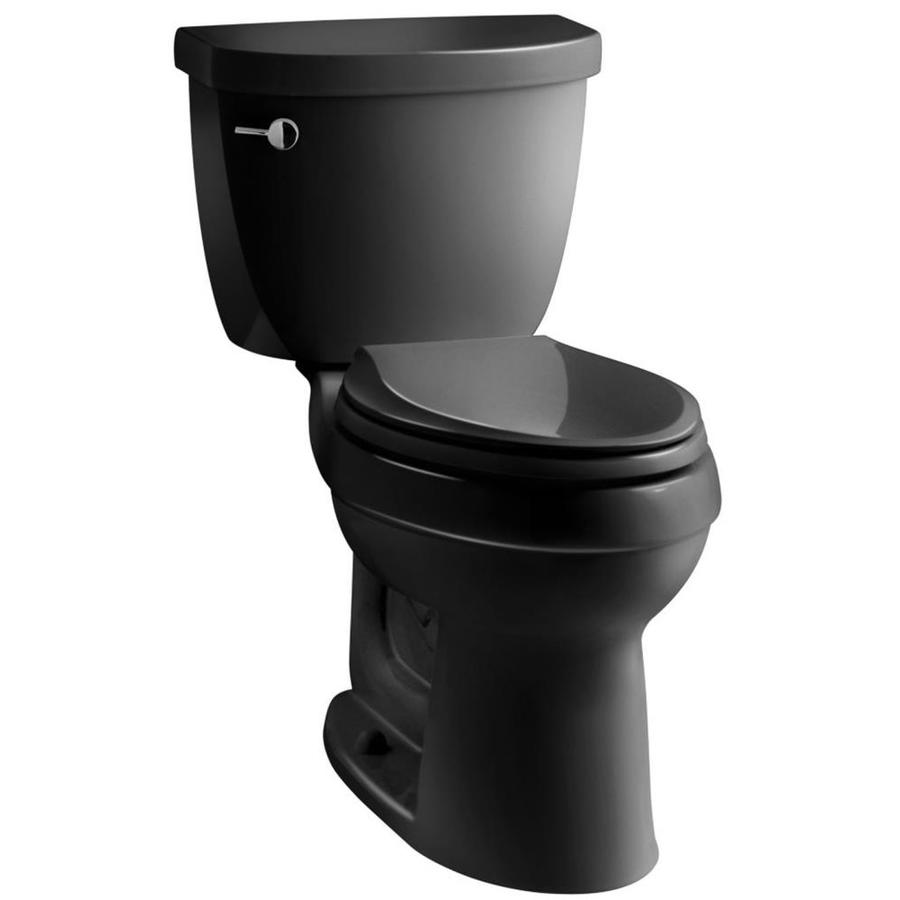 KOHLER Cimarron Black WaterSense Labeled  Elongated Standard Height 2-piece Toilet 12-in Rough-In Size