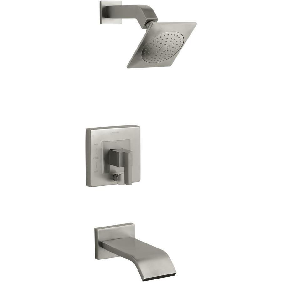 KOHLER Loure Vibrant Brushed Nickel 1-Handle Bathtub and Shower Faucet Trim Kit with Single Function Showerhead