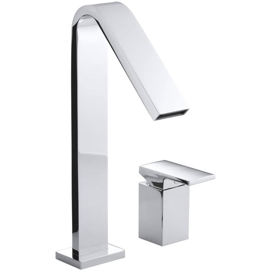 Shop kohler loure polished chrome 1 handle single hole 4 in centerset bathroom faucet at for Kohler bathroom single hole faucets