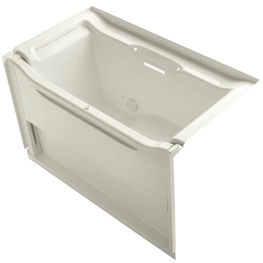 KOHLER Elevance 60.25-in Biscuit Acrylic Alcove Bathtub with Left-Hand Drain
