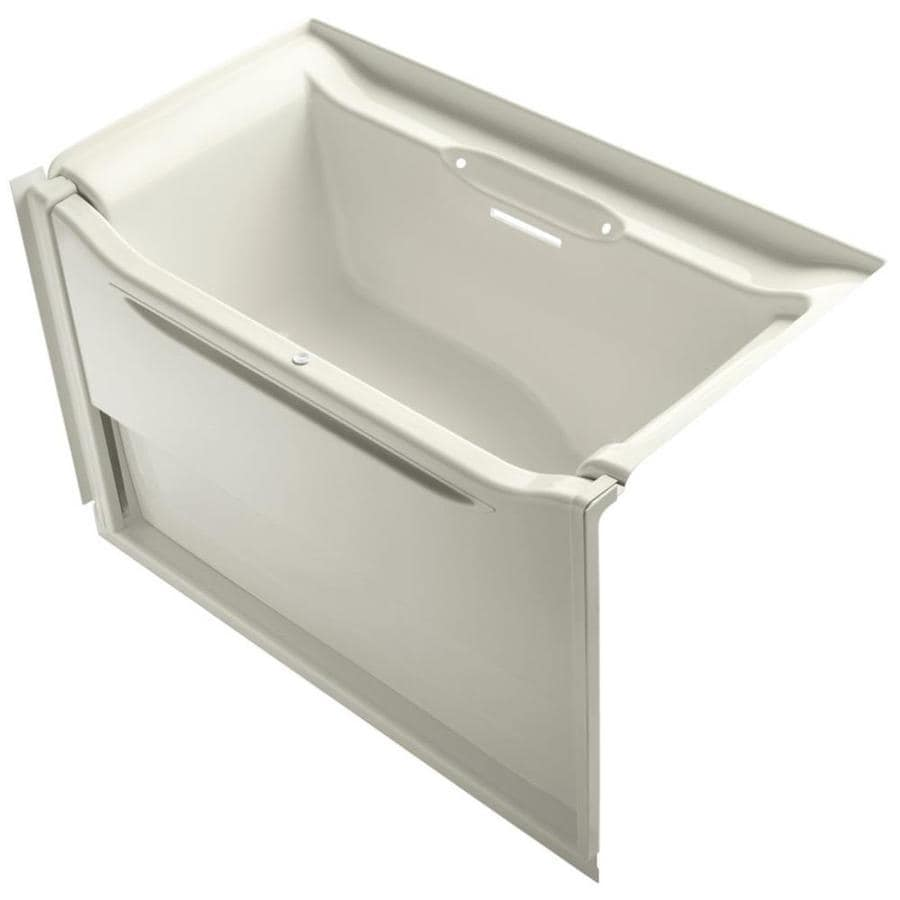 KOHLER Elevance Biscuit Acrylic Rectangular Alcove Bathtub with Right-Hand Drain (Common: 34-in x 60-in; Actual: 39.25-in x 33.5-in x 60.25-in)