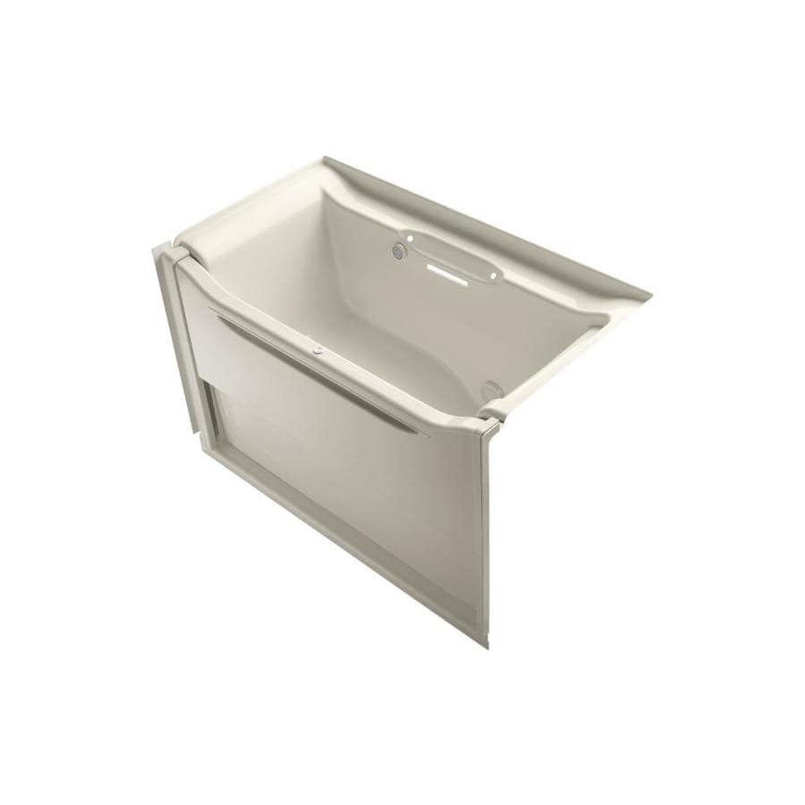 KOHLER Elevance 60.25-in Almond Acrylic Alcove Air Bath with Right-Hand Drain