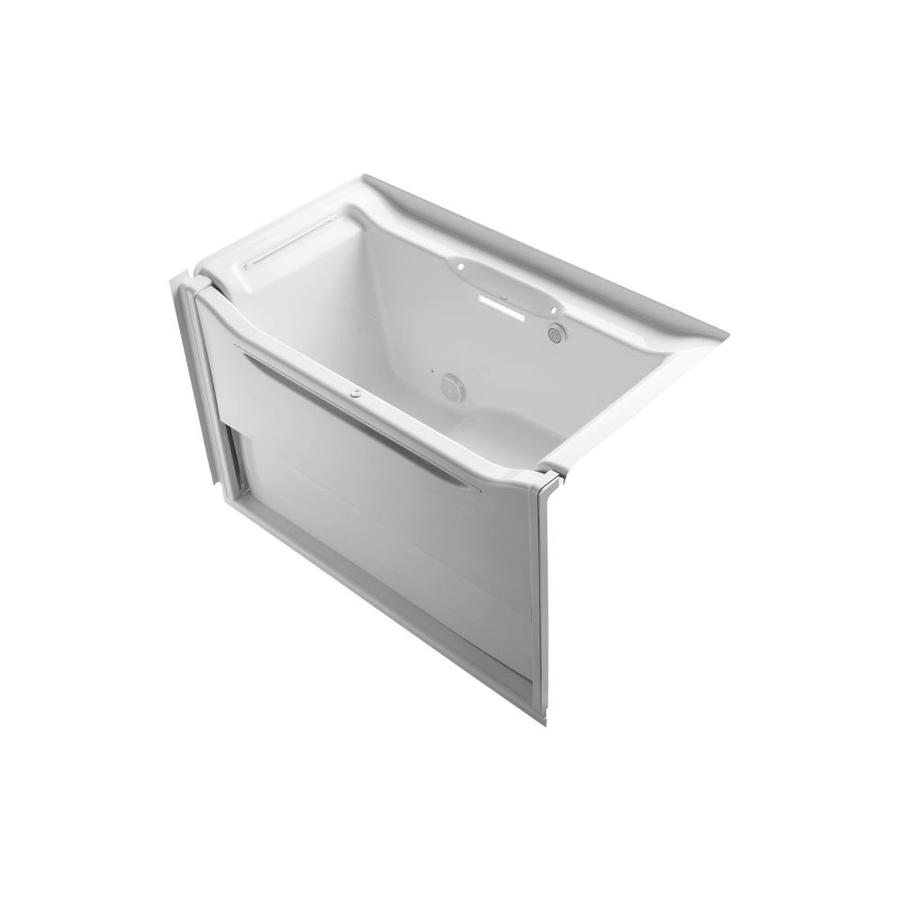 KOHLER Elevance 60.25-in White Acrylic Alcove Air Bath with Left-Hand Drain