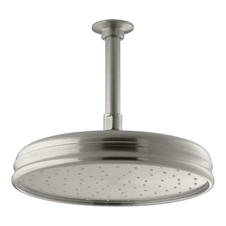 KOHLER Traditional 10.4375-in 2.5-GPM (9.5-LPM) Vibrant Brushed Nickel 1-Spray Rain Showerhead