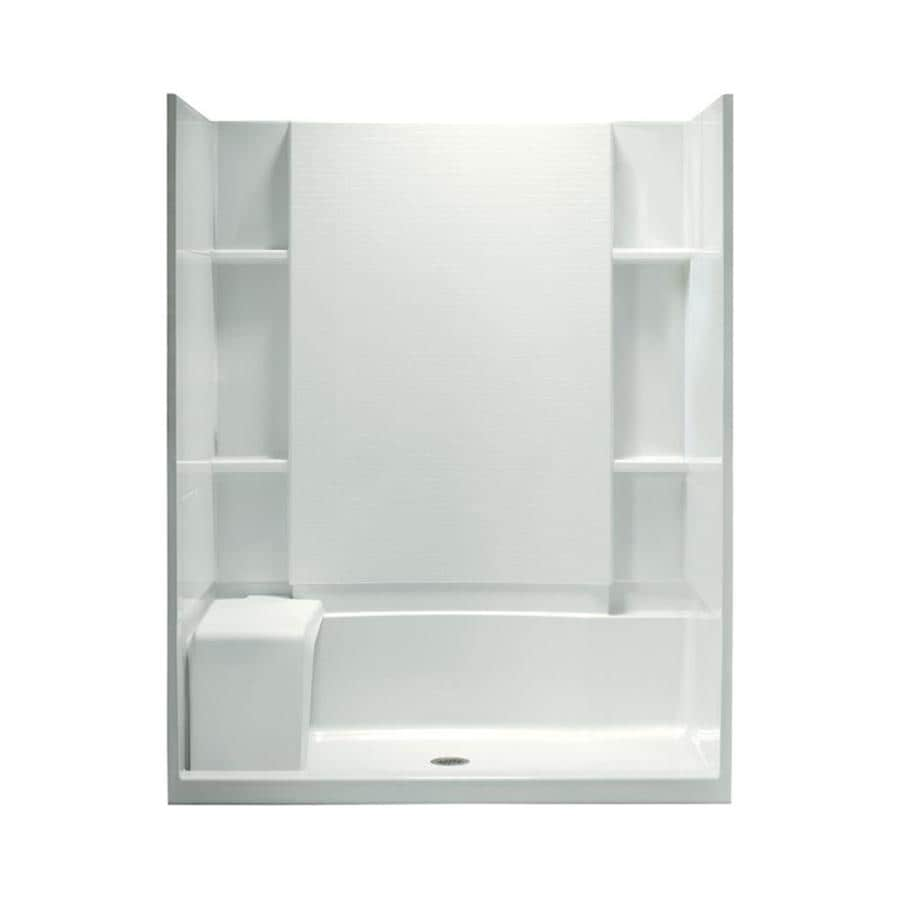 sterling accord white wall vikrell floor 4piece alcove shower kit common 60