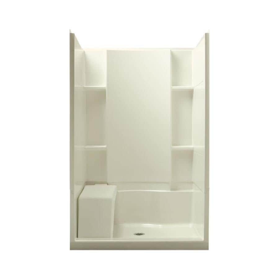 Sterling Accord Biscuit Vikrell Wall and Floor 4-Piece Alcove Shower Kit (Common: 48-in x 36-in; Actual: 74.75-in x 48-in x 36-in)