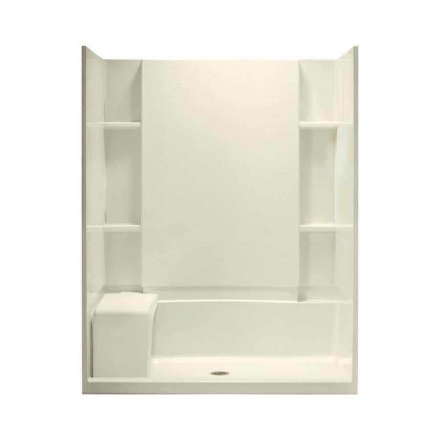 Sterling Accord Biscuit Wall Vikrell Floor 4-Piece Alcove Shower Kit (Common: 60-in x 36-in; Actual: 76-in x 60-in x 36-in)