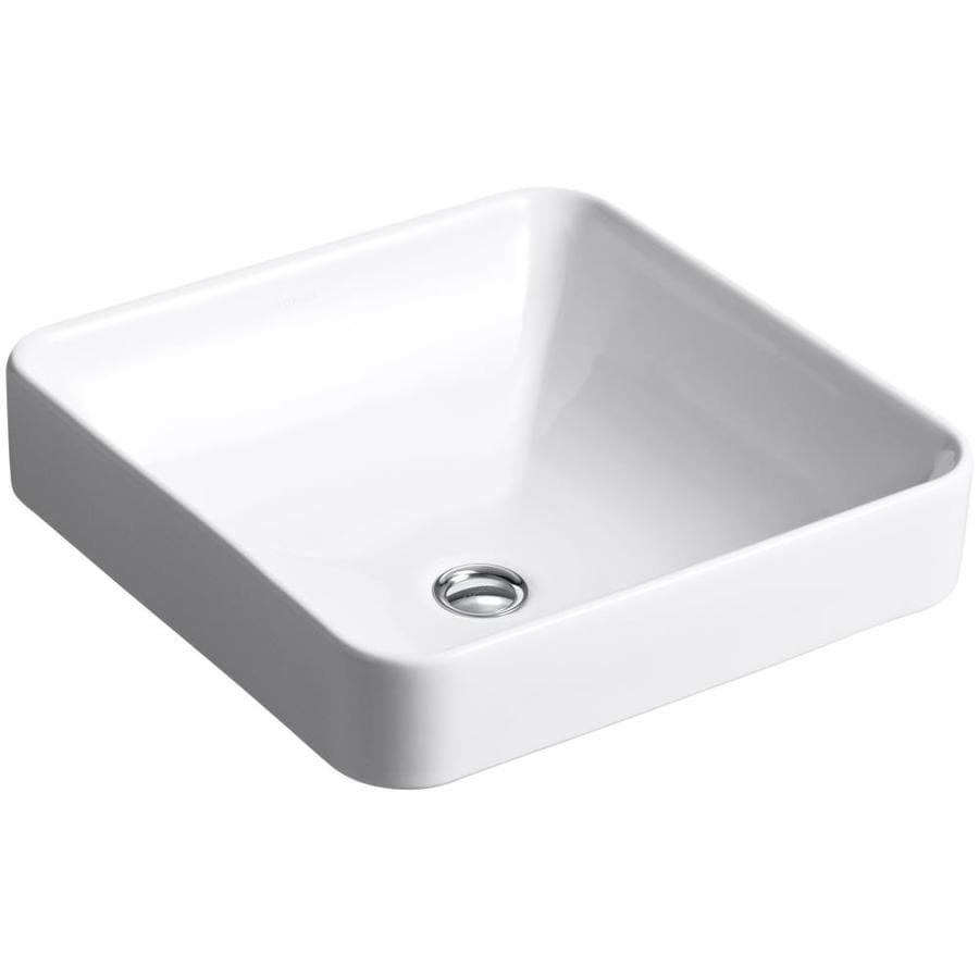 KOHLER Vox White Drop-in Square Bathroom Sink with Overflow