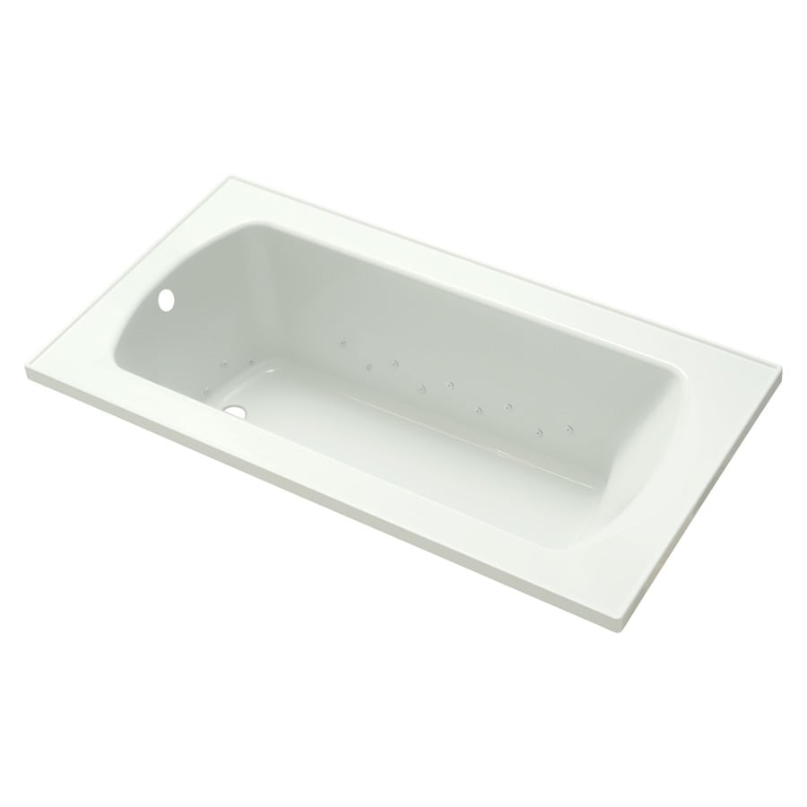 Sterling Lawson 32-in White Vikrell Drop-In Air Bath with Reversible Drain