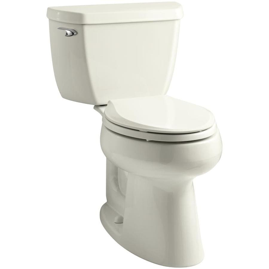 KOHLER Highline 1.28-GPF Biscuit WaterSense Elongated Chair Height 2-Piece Toilet