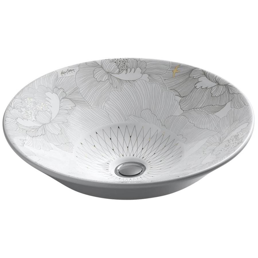 KOHLER Artist Editions Conical Bell Empress Bouquet Drop-in Oval Bathroom Sink