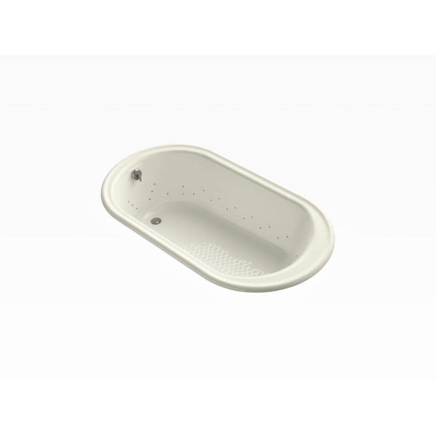 KOHLER Iron Works 66-in L x 36-in W x 19.25-in H Biscuit Cast Iron Oval Drop-in Air Bath
