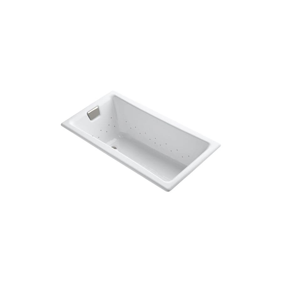 KOHLER Tea-for-Two 60-in L x 32-in W x 18.25-in H White Cast Iron 2-Person Rectangular Drop-In Air Bath