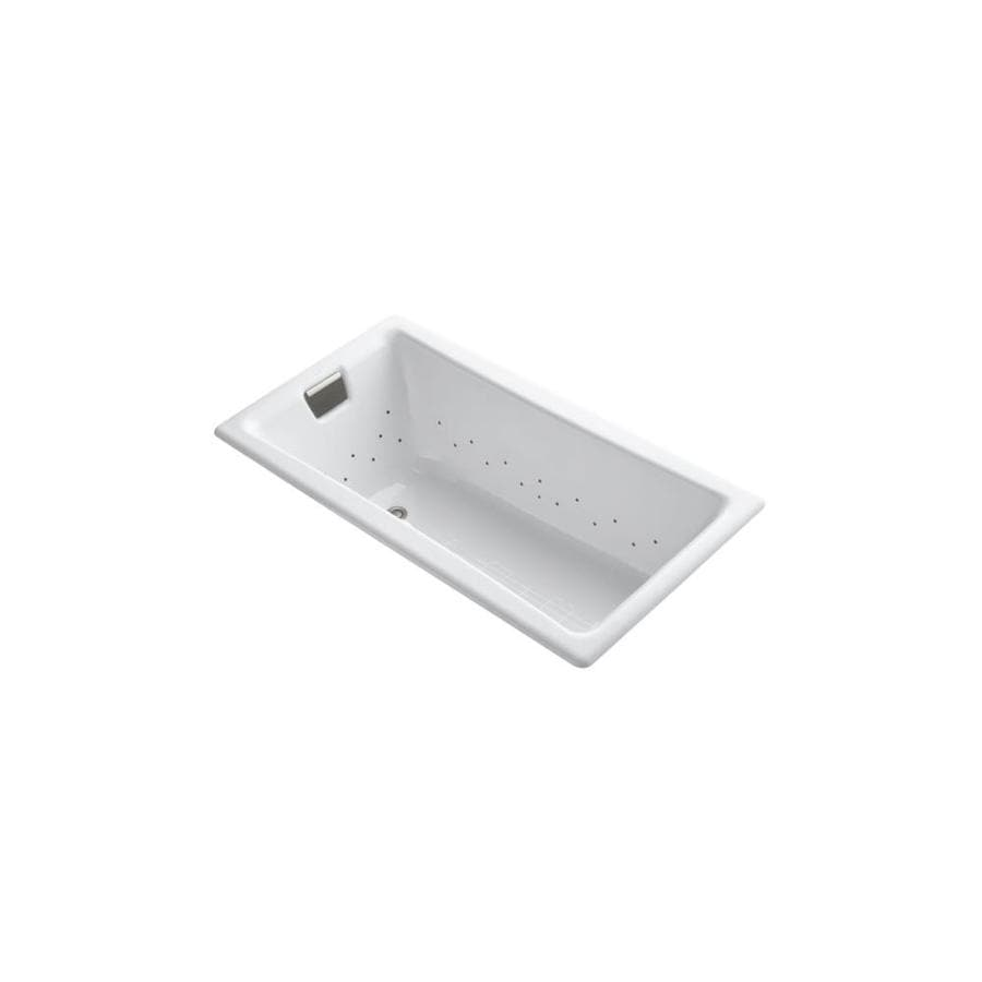 KOHLER Tea-for-Two 60-in White Cast Iron Drop-In Air Bath with Reversible Drain