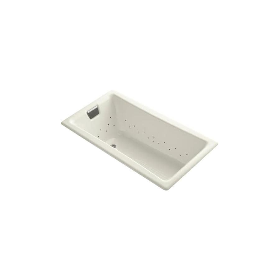 KOHLER Tea-for-Two 60-in Biscuit Cast Iron Drop-In Air Bath with Reversible Drain