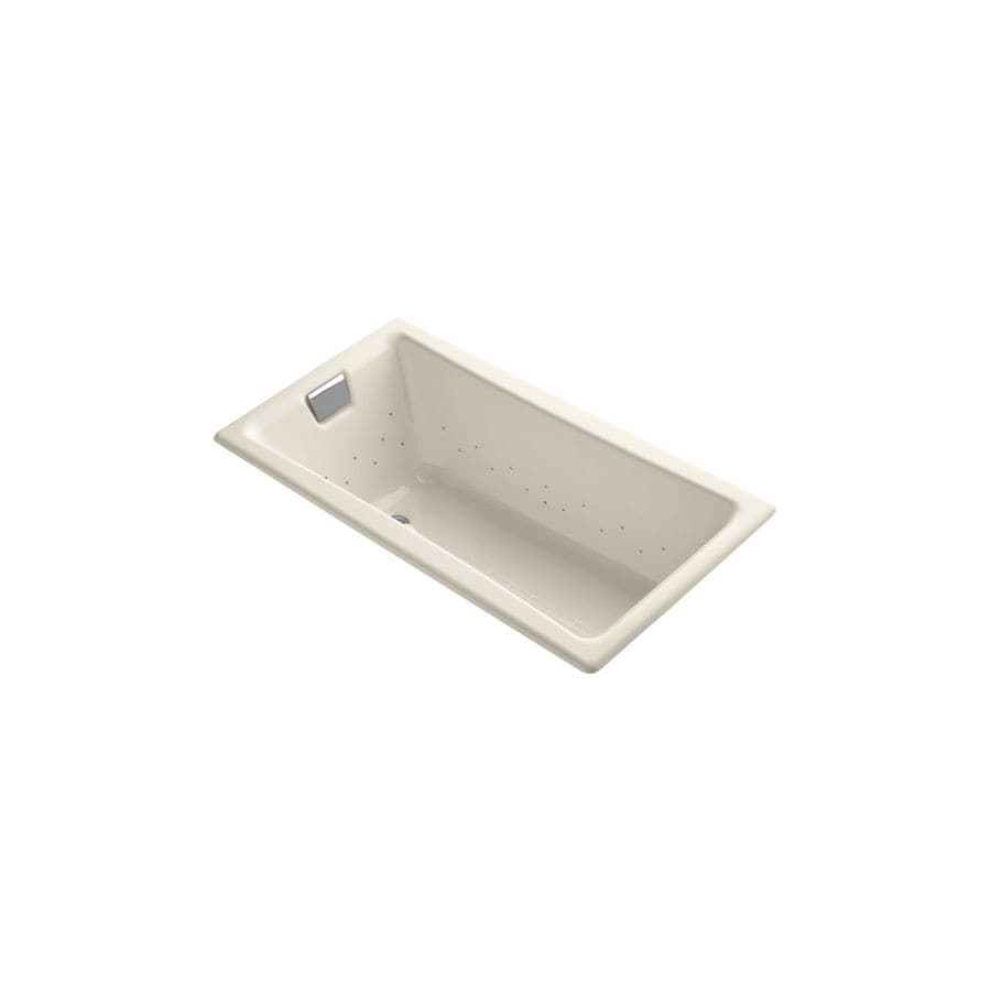 KOHLER Tea-for-Two 60-in L x 32-in W x 18.25-in H Almond Cast Iron 2-Person Rectangular Drop-In Air Bath