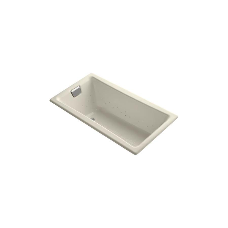 KOHLER Tea-for-Two 60-in Almond Cast Iron Drop-In Air Bath with Reversible Drain