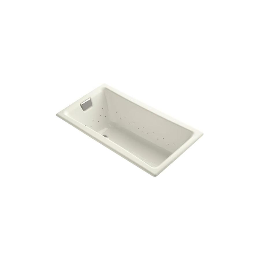 KOHLER Tea-for-Two 60-in Sandbar Cast Iron Drop-In Air Bath with Reversible Drain