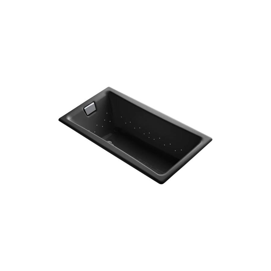 KOHLER Tea-for-Two 60-in L x 32-in W x 18.25-in H Black Black Cast Iron 2-Person Rectangular Drop-In Air Bath
