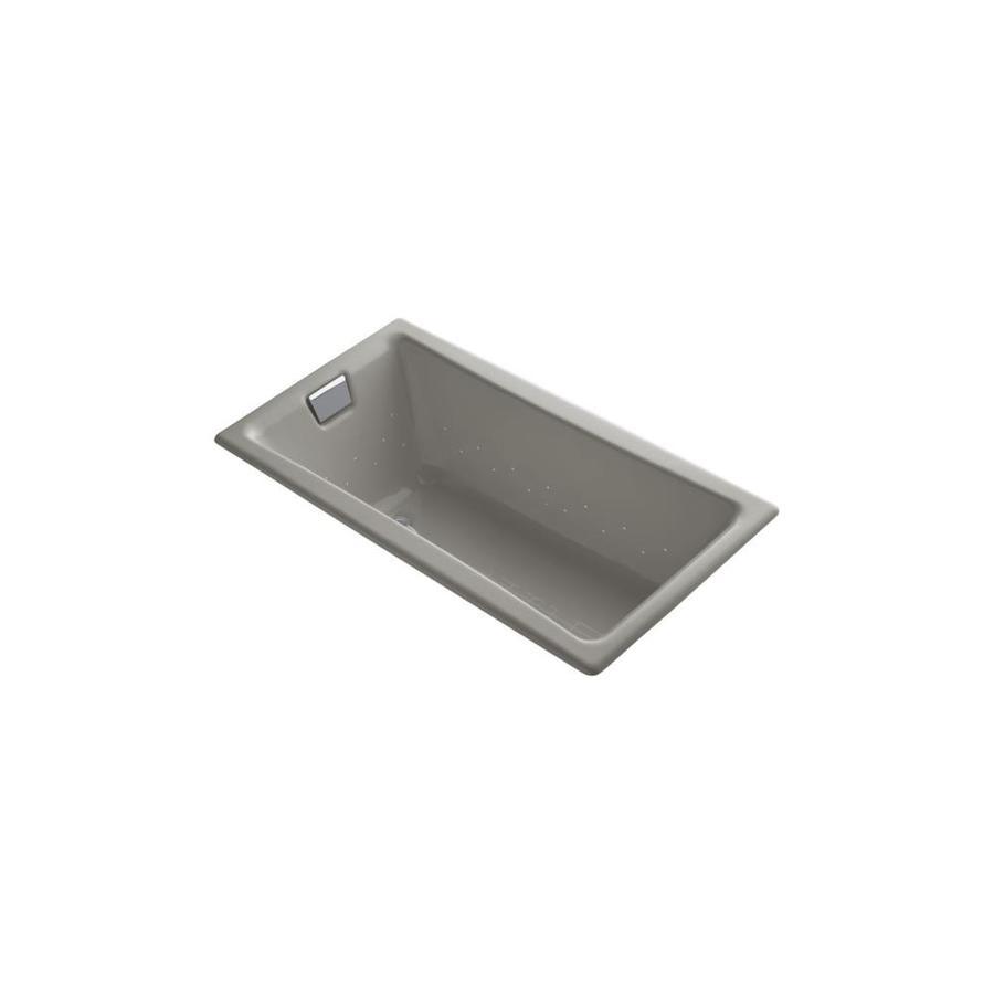 KOHLER Tea-For-Two 60.0-in L x 32.0-in W x 18.25-in H Cashmere Cast Iron 2-Person Rectangular Drop-in Air Bath