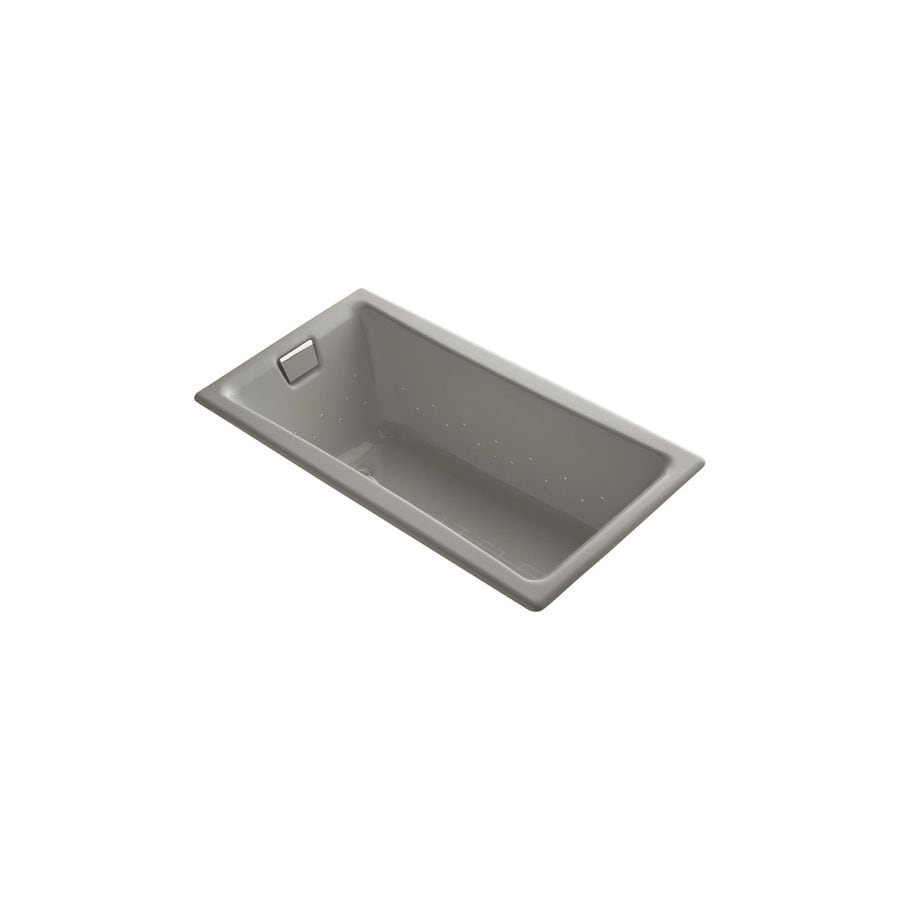 KOHLER Tea-for-Two 60-in Cashmere Cast Iron Drop-In Air Bath with Reversible Drain