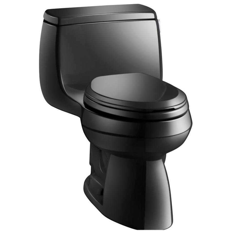 KOHLER Gabrielle Black Black WaterSense Labeled  Elongated Chair Height 1-piece Toilet 12-in Rough-In Size