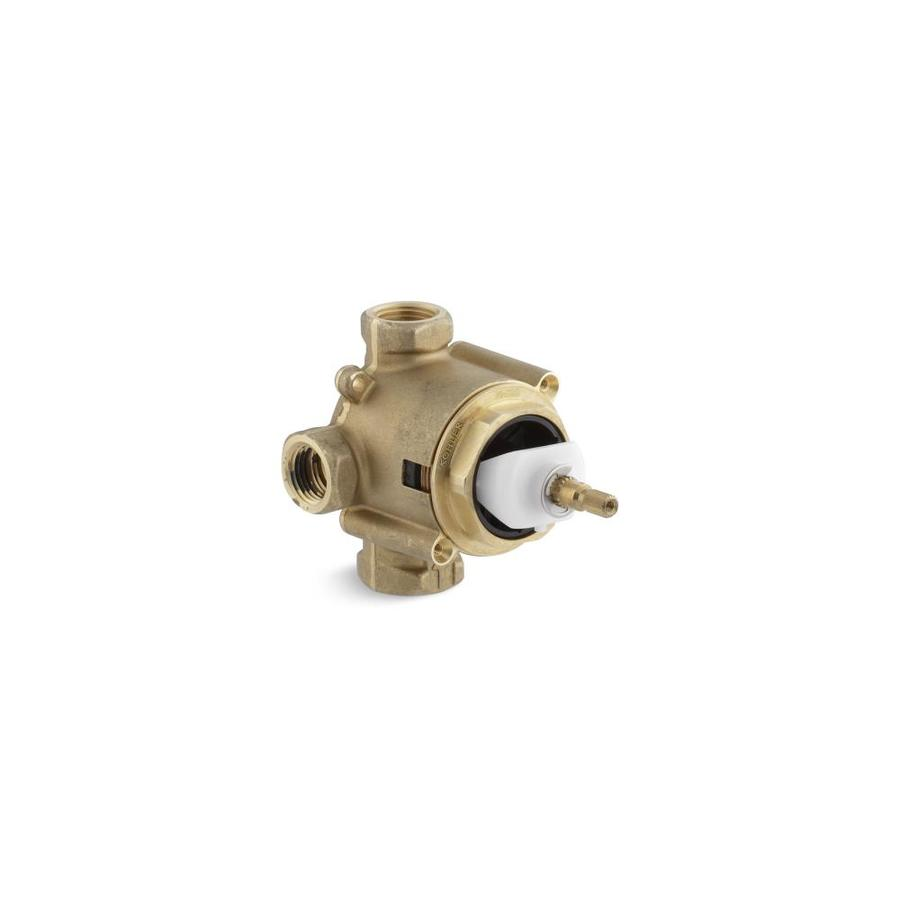 KOHLER 3/4-in Male and 1/2-in Sweat Brass Compression In-Line Rough-in Valve with Integral Stops