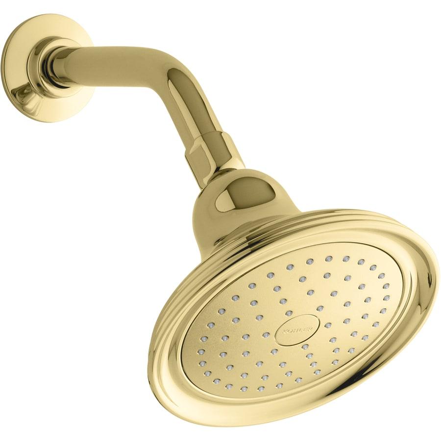 KOHLER Devonshire 5.9375-in 2.5-GPM (9.5-LPM) Vibrant Polished Brass 1-Spray Showerhead