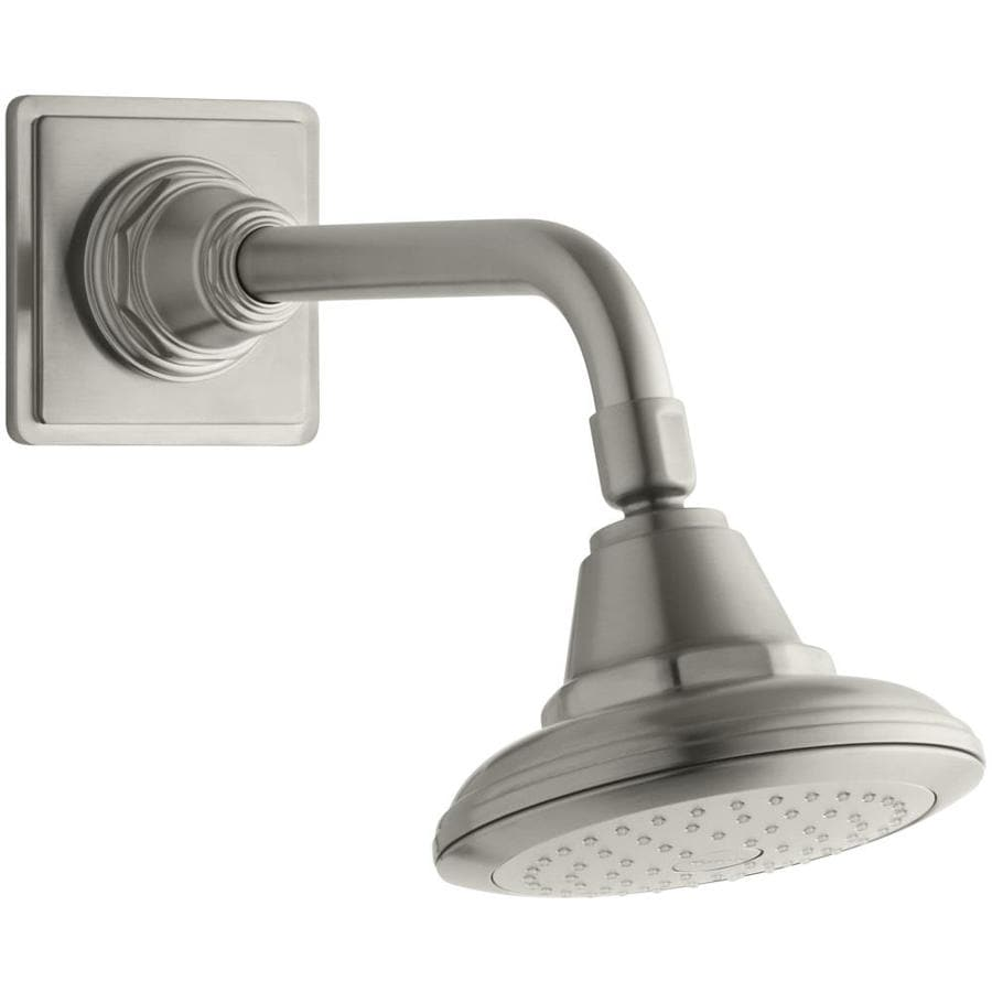 KOHLER Pinstripe 5.5625-in 2.5-GPM (9.5-LPM) Vibrant Brushed Nickel 1-Spray Showerhead