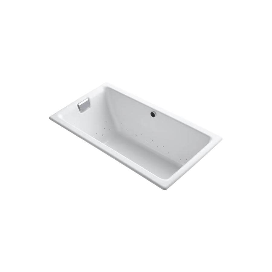KOHLER Tea-For-Two 66.0-in L x 36.0-in W x 24.0-in H White Cast Iron 2-Person Rectangular Drop-in Air Bath