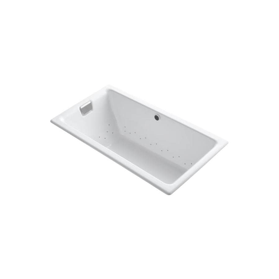 KOHLER Tea-for-Two 66-in White Cast Iron Drop-In Air Bath with Reversible Drain