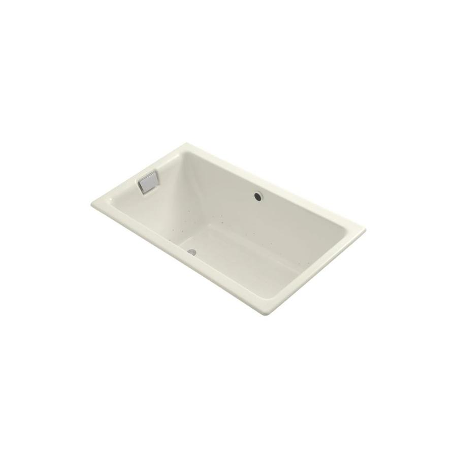 KOHLER Tea-for-Two 66-in L x 36-in W x 24-in H Biscuit Cast Iron 2-Person Rectangular Drop-In Air Bath