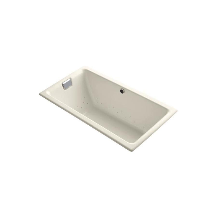KOHLER Tea-For-Two 66.0000-in L x 36.0000-in W x 24.0000-in H Almond Cast Iron 2-Person Rectangular Drop-in Air Bath