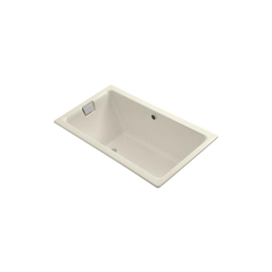 KOHLER Tea-for-Two 66-in Almond Cast Iron Drop-In Air Bath with Reversible Drain