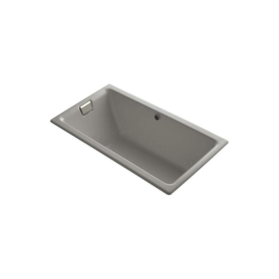 KOHLER Tea-for-Two 66-in Cashmere Cast Iron Drop-In Air Bath with Reversible Drain