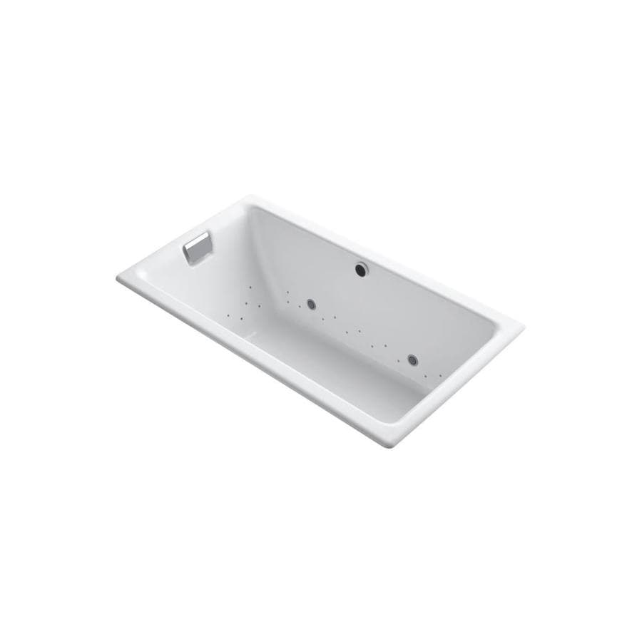 KOHLER Tea-For-Two 66-in L x 36-in W x 24-in H White Cast Iron 2-Person Rectangular Drop-in Air Bath