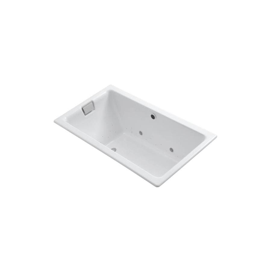 KOHLER Tea-For-Two 66-in L x 36-in W x 24-in H White Cast Iron 2-Person Rectangular Drop-in Air Bath