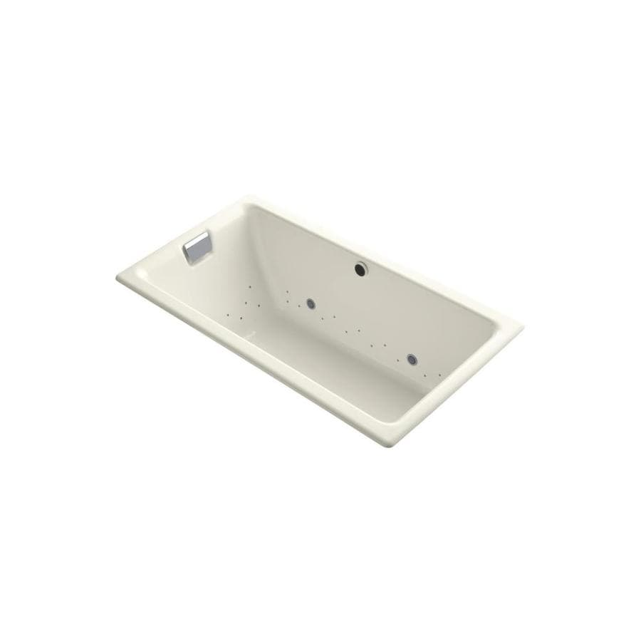KOHLER Tea-for-Two 66-in Biscuit Cast Iron Drop-In Air Bath with Reversible Drain
