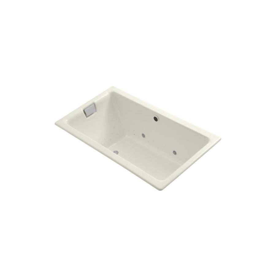 KOHLER Tea-For-Two 66-in L x 36-in W x 24-in H Biscuit Cast Iron 2-Person Rectangular Drop-in Air Bath