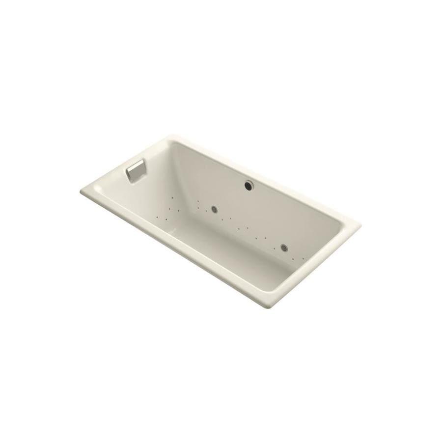 KOHLER Tea-for-Two 66-in L x 36-in W x 24-in H Almond Cast Iron 2-Person Rectangular Drop-In Air Bath