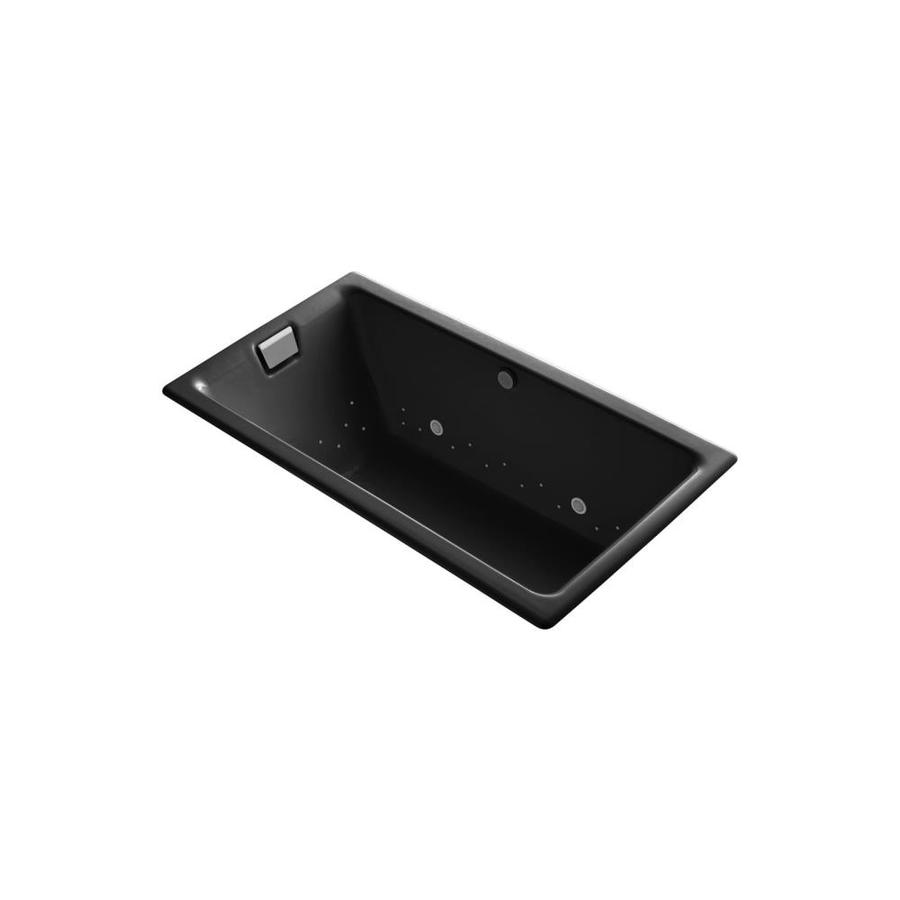 KOHLER Tea-for-Two 66-in Black Black Cast Iron Drop-In Air Bath with Reversible Drain