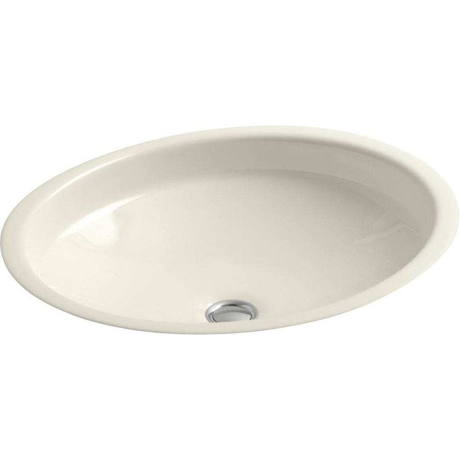 KOHLER Canvas Almond Cast Iron Undermount Oval Bathroom Sink with Overflow