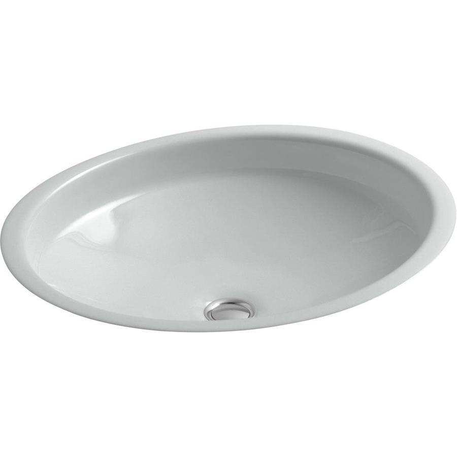KOHLER Canvas Ice Grey Cast Iron Undermount Oval Bathroom Sink with Overflow