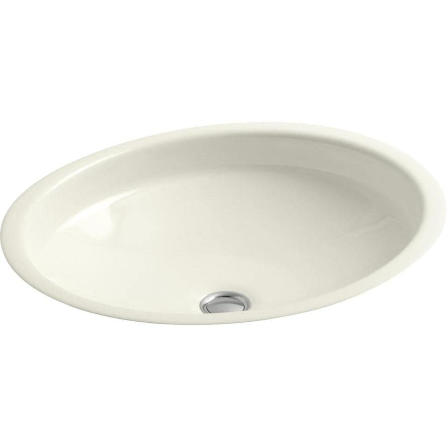 Shop kohler canvas biscuit cast iron undermount oval bathroom sink with overflow at Kohler cast iron bathroom sink